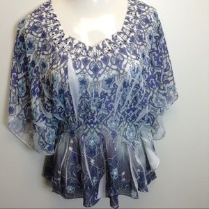 DRESSBARN Dolman Sheer Blue Career Top XL